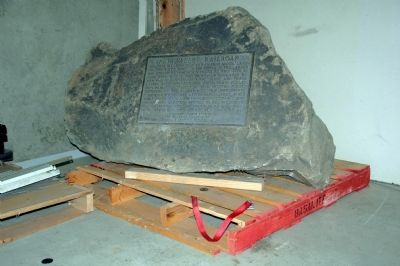 Napa Valley Railroad Marker in storage image. Click for full size.