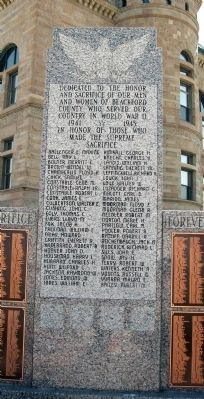 Center Panel - - Blackford County W.W. II Honor Roll Marker image. Click for full size.