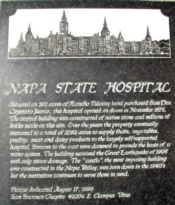 Napa State Hospital Marker image. Click for full size.