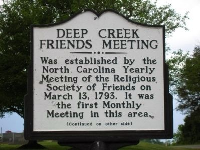Deep Creek Friends Meeting Marker (Front) image. Click for full size.