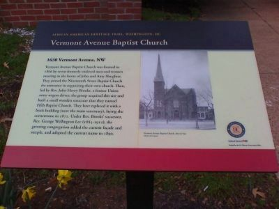 Vermont Avenue Baptist Church Marker image. Click for full size.