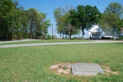 The Original Back Door Step Marker<br>Flat Rock Presbyterian Church in Distance image. Click for full size.