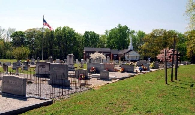 Flat Rock Cemetery Looking West<br>Flat Rock Baptist Church in Distance image. Click for full size.
