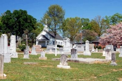 Flat Rock Cemetery Looking East<br>Flat Rock Presbyterian Church in Distance image. Click for full size.
