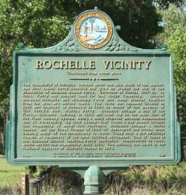 Rochelle Vicinity Marker, reverse text image. Click for full size.