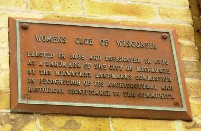 Womens Club of Wisconsin Marker image. Click for full size.