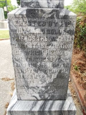 Monument in front of Mt. Moriah Baptist Church - side image. Click for full size.