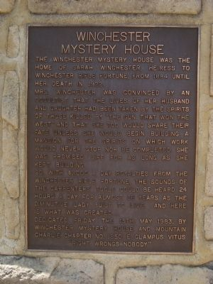 Winchester Mystery House Marker image. Click for full size.