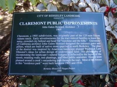 Claremont Public Improvements Marker image. Click for full size.