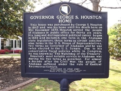 Governor George S. Houston Home Marker Front image. Click for full size.
