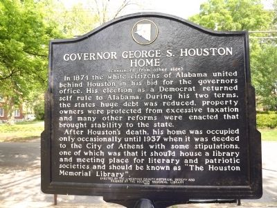Governor George S. Houston Home Marker Back image. Click for full size.