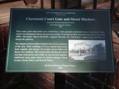 Claremont Court Gate and Street Markers Marker image. Click for full size.