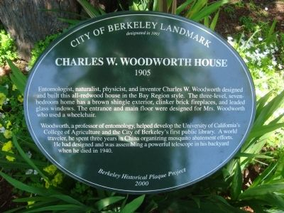 Charles W. Woodworth House Marker image. Click for full size.