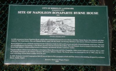 Site of Napoleon Bonaparte Byrne House Marker image. Click for full size.