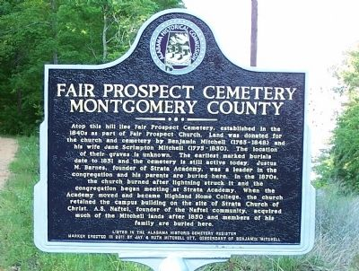 Fair Prospect Cemetery Montgomery County Marker image. Click for full size.