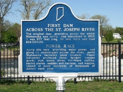 First Dam Across The St. Joseph River / Power Race Marker image. Click for full size.