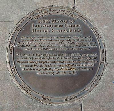 First Mayor of Los Angeles Under United States Rule Marker image. Click for full size.