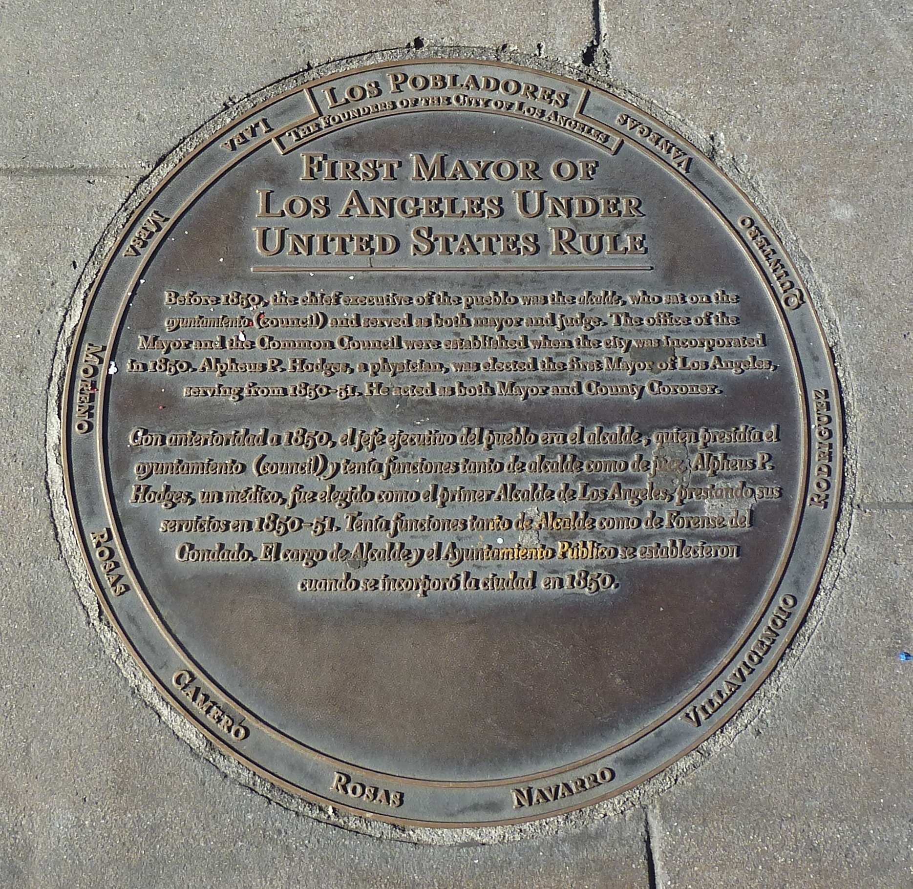 First Mayor of Los Angeles Under United States Rule Marker