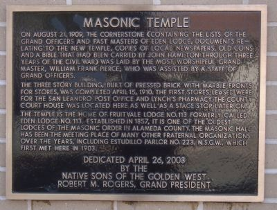 Masonic Temple Marker image. Click for full size.