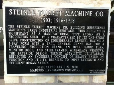 Steinle Turret Machine Co. Marker image. Click for full size.
