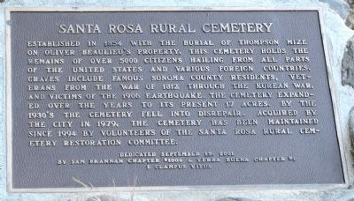 Santa Rosa Rural Cemetery Plaque image. Click for full size.