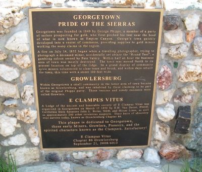 Georgetown-Pride of the Sierra / Growlersburg / E Clampus Vitus Marker image. Click for full size.