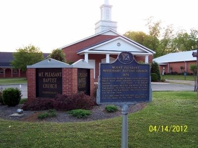 Mt. Pleasant Misionary Baptist Church Marker image. Click for full size.