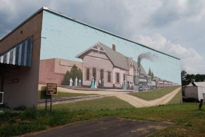 Old Iva Depot Mural and Marker image. Click for full size.