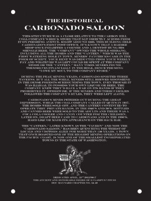 The Historical Carbonado Saloon Plaque Marker image. Click for full size.