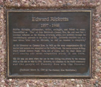 Edward Ricketts Marker image. Click for full size.