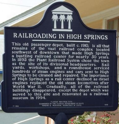 Railroading in High Springs Marker image. Click for full size.