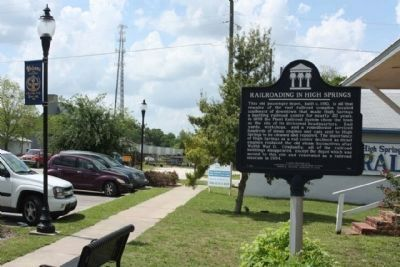 Railroading in High Springs Marker along NE Railroad Avenue image. Click for full size.