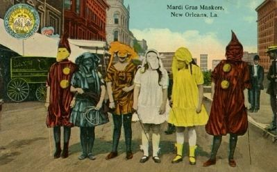 New Orleans Mardi Gras maskers, image. Click for full size.