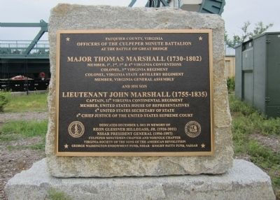 Great Bridge Marshall Memorial Marker image. Click for full size.