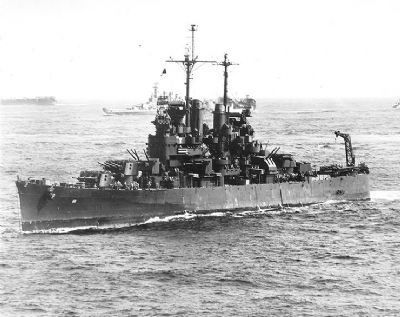 U.S.S. <i>Santa Fe</i> at sea during the Philippines Campaign image. Click for full size.