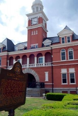 Elbert County Marker and Courthouse image. Click for full size.