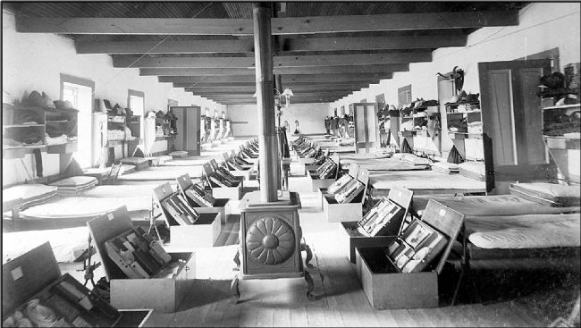 Historic view of the interior of the 1873 Infantry Barracks image. Click for full size.