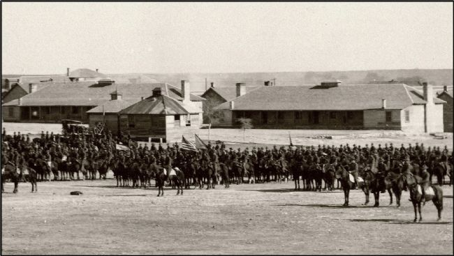 13th Cavalry parade in front of 1873 Infantry Barracks image. Click for full size.