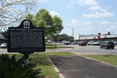 Gainesville's Railroads / Past Railroads of Gainesville Marker, looking south along NW 6th Street image. Click for full size.