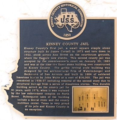 Kinney County Jail Marker image. Click for full size.