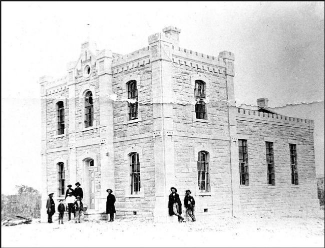 Historic view of the Kinney County Jail used on the marker image. Click for full size.