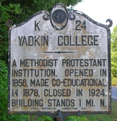 Yadkin College Marker image. Click for full size.