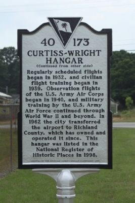 Curtiss-Wright Hangar Marker, reverse side image. Click for full size.