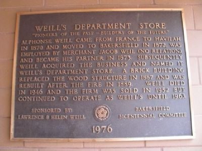 Weill's Department Store Marker image. Click for full size.
