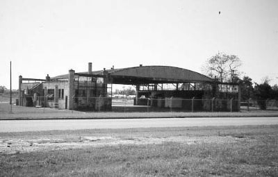 Curtiss-Wright Hangar, rear view (streetside) image. Click for full size.