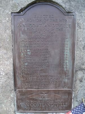 Van Cortlandtville World War Memorial Marker image. Click for full size.