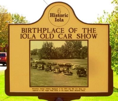 Birthplace of the Iola Old Car Show Marker image. Click for full size.