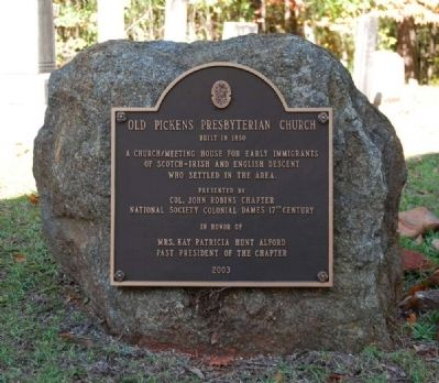 Old Pickens Presbyterian Church Marker image. Click for full size.