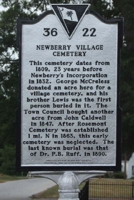 Newberry Village Cemetery Marker image. Click for full size.