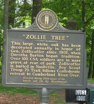 "Felix K. Zollicoffer, ""Zollie Tree"" Marker Side 2 image. Click for full size."